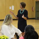 Head of School, Anna Johnson, speaks with grandparents and special friends