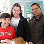 A Room 5 student with his special visitors on April 12th