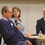 Dr. John Ratey, Vanessa Weiner, and Lise Faulise, MS, OTR/L, BCP during the panel discussion