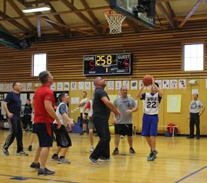 A student takes a shot hoping to give the students a lead in a tied game!